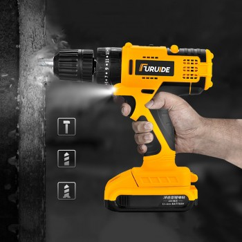 21V Double Speed Brushless Cordless Drill with 1 Battery - Original HABO 58VF Handheld Electric Drill - FREE Drill Storage Box, FREE Drill Bits