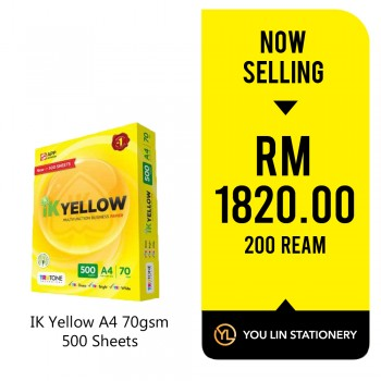 IK Yellow A4 Paper 70gsm-500 Sheets (200 Ream)