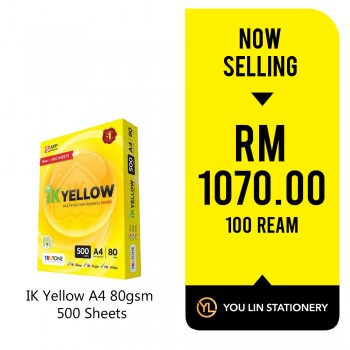 IK Yellow A4 Paper 80gsm-500 Sheets (100 Ream)