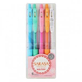 Zebra Sarasa Clip 0.5mm Pen - Milky Colour 5's