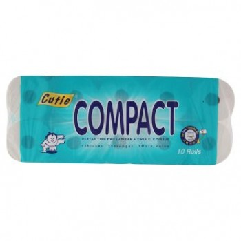 Cutie Compact Twin Ply Tissue 10 Rolls 1.8kg