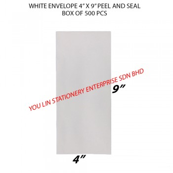 "White Envelope 4"" X 9"" Peel&Seal (500 PCS)"