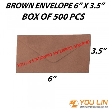 "Brown Envelope 6"" X 3.5"" (500 PCS)"