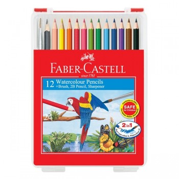 Faber Castell Watercolour Pencil 12L In Clear Box #114562