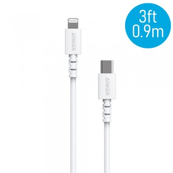 Anker A8612 PowerLine 3ft Select USB-C to Lightning Connector Cable - White (0.9M)