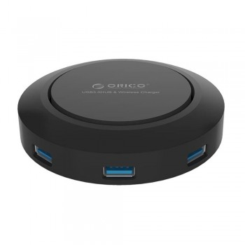 Orico OPC-5US 5 Port (2.4A & 3 x 1.0A) Charging Hub with QI Wireless Charging - Black
