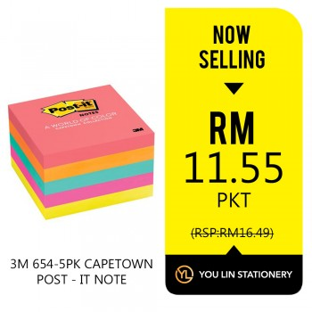 3M 654-5PK 3 Inch x 3 Inch Capetown Collection Post It Note - Promo