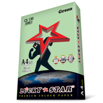 Luckystar CS130 A4 80GSM 450'S Colour Paper-Green