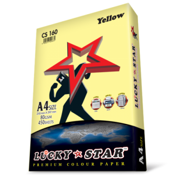 Luckystar CS160 A4 80GSM 450'S Colour Paper-Yellow