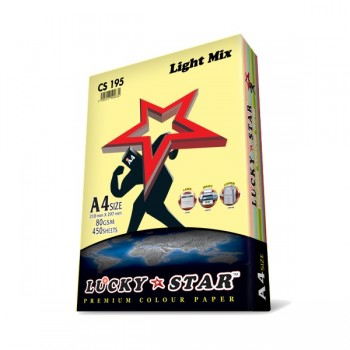 Luckystar CS195 A4 80GSM 450'S Colour Paper-Light Mix