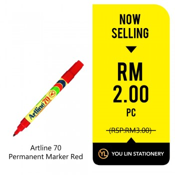 Artline 70 Red Permanent Marker - Promo