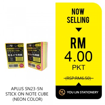 APLUS SN23-5N Stick On Note Cube-Promo