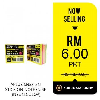 APLUS SN33-5N Stick On Note Cube-Promo