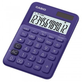 Casio Colourful Calculator - 12 Digits, Solar & Battery, Tax & Time Calculation, Purple (MS-20UC-PU)