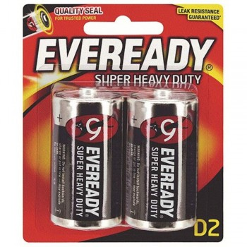 EVEREADY Super Heavy Duty D Carbon Zinc Batteries - D Size - 2pcs (Item No: B06-17) A1R2B230