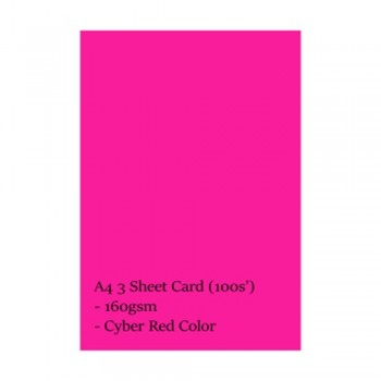 A4 3 Sheet Card 160gsm 100s' (Cyber Red)