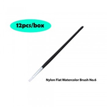 Nylon Flat Watercolor Brush No.6 - 12pcs/box