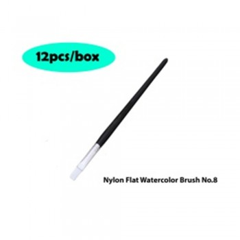 Nylon Flat Watercolor Brush No.8 - 12pcs/box