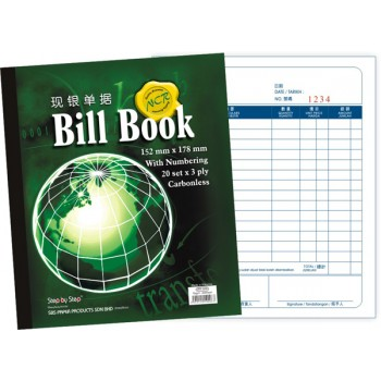 "SBS 0006 6"" X 7"" NCR Bill Book (20 set X 3)"